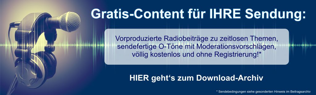 Banner zum kostenlosen Audio-Shop, in dem Radiobeiträge gratis zur Ausstrahlung heruntergeladen werden können.